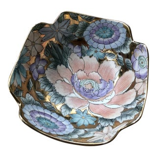 Vintage Hand Painted Pastel and Rose Gold Gilt Porcelain Floriform Catchall Bowl For Sale