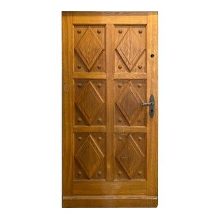 Mid 20th Century French Oak Entry Door For Sale