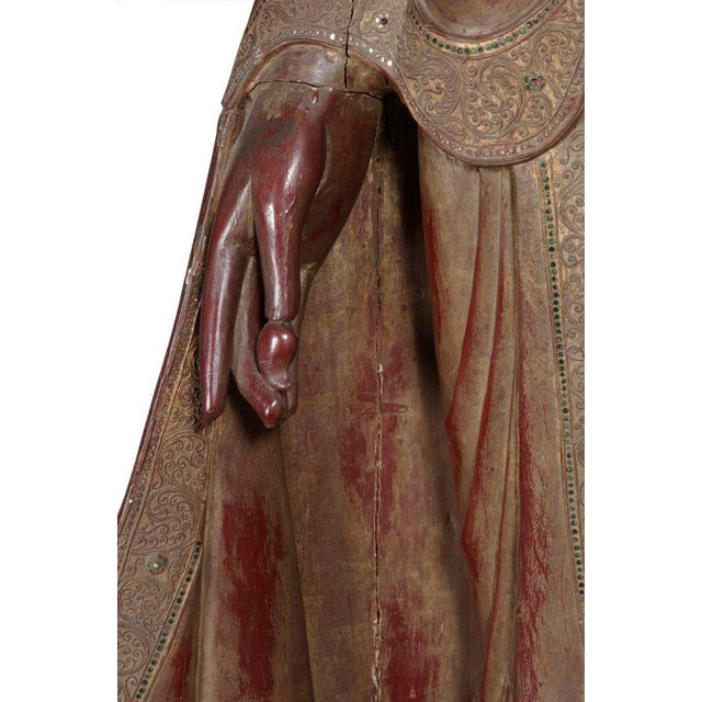 Carved Wood Buddha Statue - Image 6 of 8