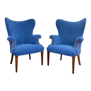 1950s Scandinavian Butterfly Blue Wingback Chairs - a Pair For Sale