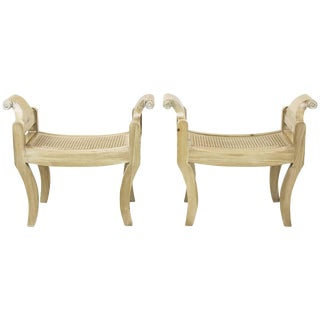 Pair of Swedish Rococo Style White Glazed Pine Benches For Sale