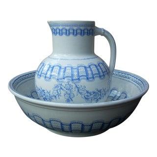 Blue & White Wash Bowl Set For Sale