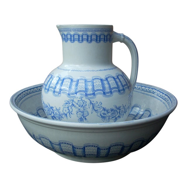 Blue & White Wash Bowl Set For Sale