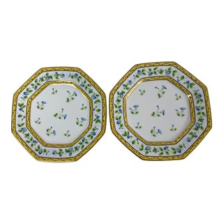 Limoges A. Raynaud Ceralene Morning Glory Spray Octagonal Plates - a Pair For Sale