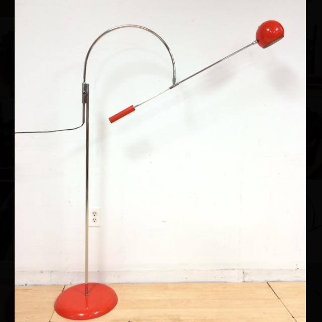 """This orange """"Orbiter"""" floor lamp by Robert Sonneman is versatile by rotating and tilting in almost any angle possible. All..."""