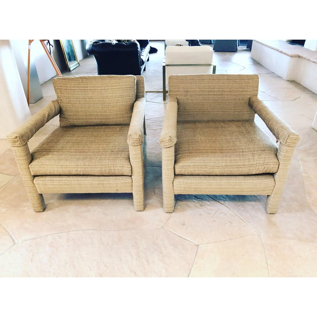 1970s Vintage Parsons Lounge Chairs - A Pair For Sale - Image 12 of 13