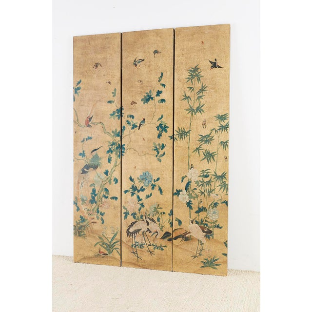 Asian Continental Painted Chinoiserie Wallpaper Screen With Decoupage For Sale - Image 3 of 13