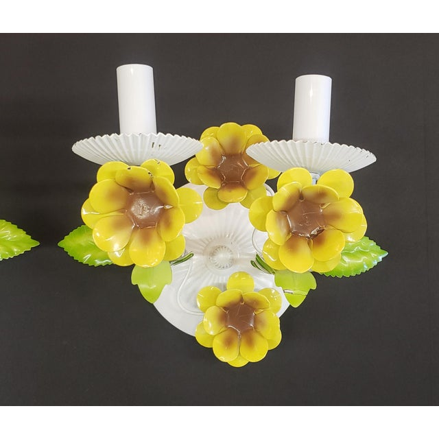 Shabby Chic Italian Tole Yellow Daffodil Sconces - a Pair For Sale - Image 3 of 10