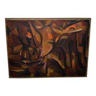 Organic Mid Century Modern Abstract Oil Painting C.1950s For Sale