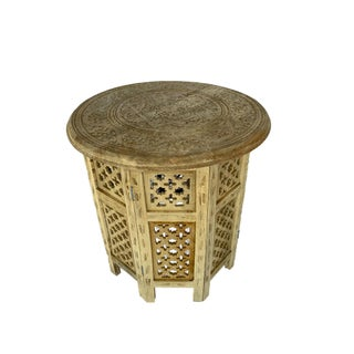 Boho Chic Hand-Carved Mango Wood Folding Table Preview