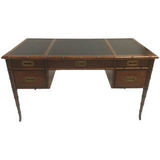 1960s Traditional Mahogany Faux Bamboo Writing Desk For Sale