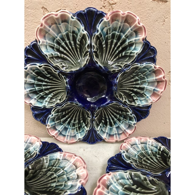 Late 19th Century C.1890 Very Rare French Majolica Oyster Plate Fives Lille For Sale - Image 5 of 11