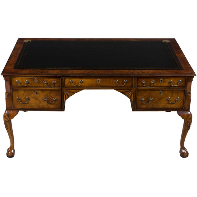 1960s Queen Anne Red Ball And Claw Foot Writing Desk For Image 11 Of