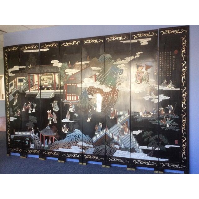 Large Eight Panel Chinese Coromandel Screen For Sale In San Antonio - Image 6 of 7