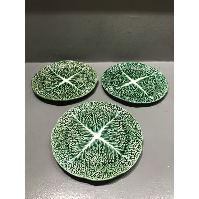 Vintage Secla Green Ceramic Majolica Cabbage Salad Plates - Set of 3 For Sale - Image 10 of 10