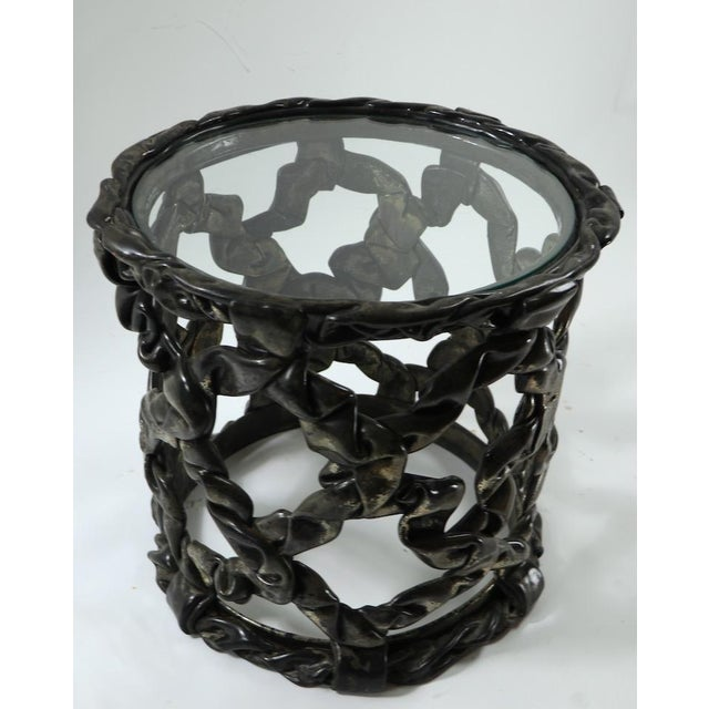 Dark Gray Brutalist Drum Table of Resin and Glass For Sale - Image 8 of 10