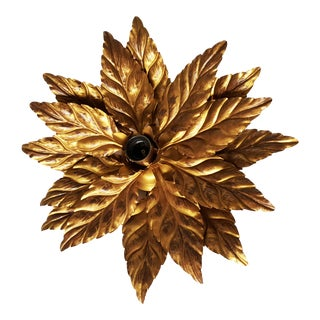 Vintage French Leaves Flush Mount For Sale