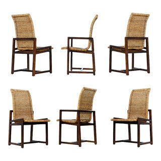 Highback Cane Dining Chairs by Century Furniture For Sale