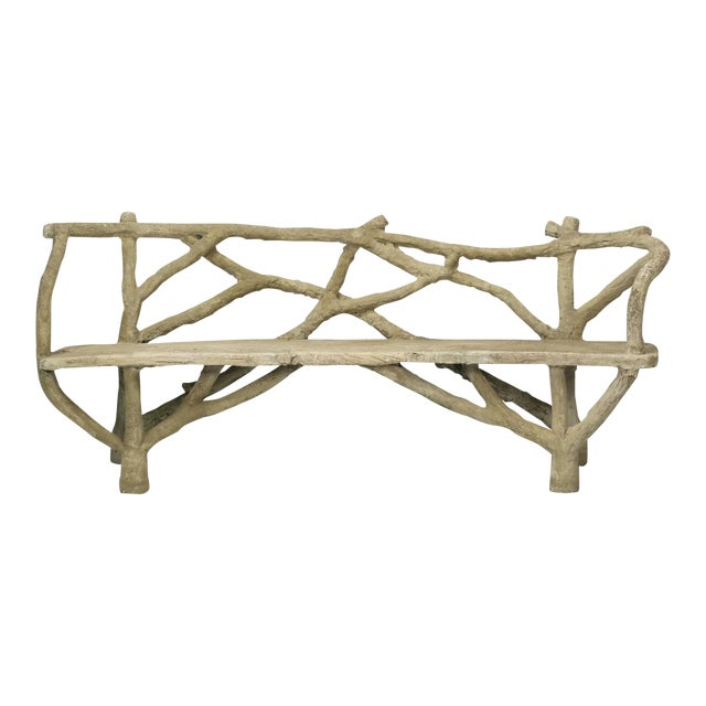 Antique French Faux Bois or Concrete Bench Attributed to Edouard Redont For Sale