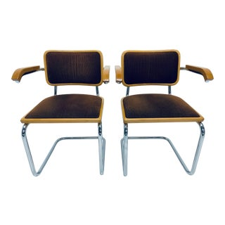 Pair of Marcel Breuer Brown Channeled Velvet Upholstered Cesca Arm Chairs, Italy For Sale