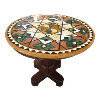 1990s Empire Stunning & Stylish Pietra Dura Inlaid Marble Table