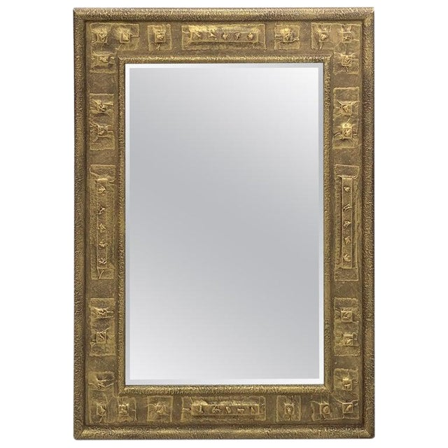 Gilt Brutalist Mirror, by Harris Strong For Sale