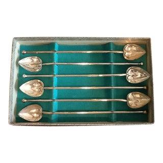 Vintage Heart Shaped Sterling Silver Stirrers in Original Box - Set of 6
