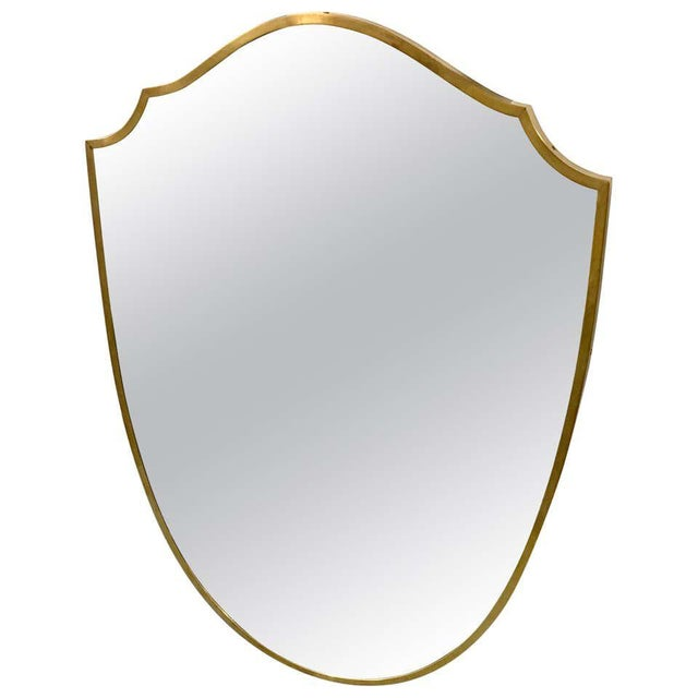 Vintage Italian Brass Frame Wall Mirror For Sale - Image 10 of 10