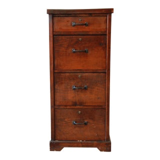 Antique Pine 4-Drawer Locking File Cabinet