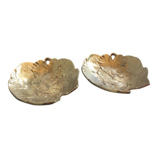 Solid Brass Autumn Leaf Catchalls / Dishes - a Pair For Sale