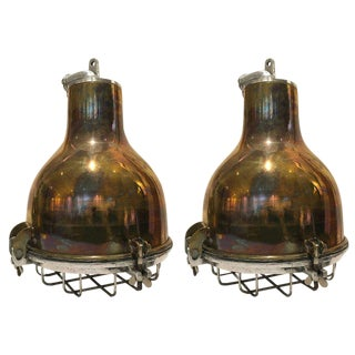 Pair of 1970s Ship's Brass Cargo Lights With Aluminium Cage, 1970s