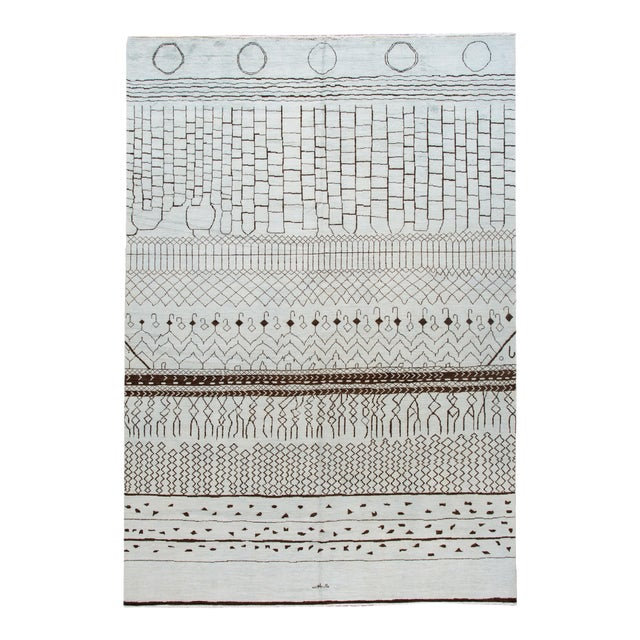 21st Century Contemporary 12'x19' Moroccan Wool Rug For Sale