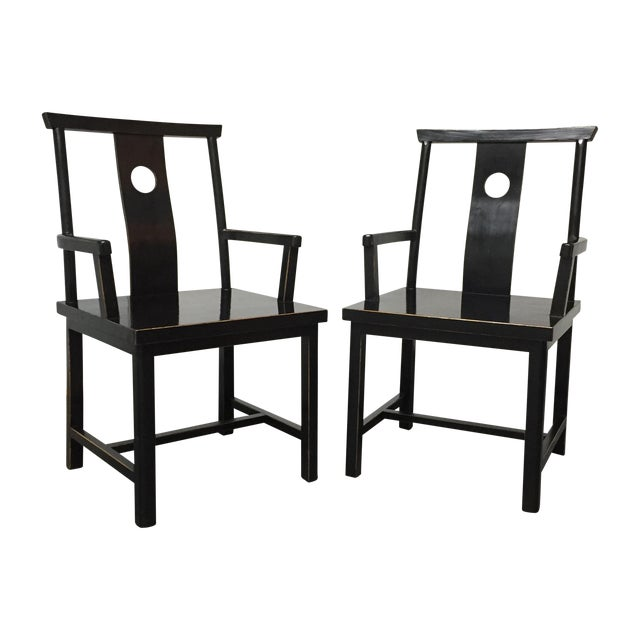 Black Solid Wood Lacquered Chairs - A Pair - Image 1 of 10