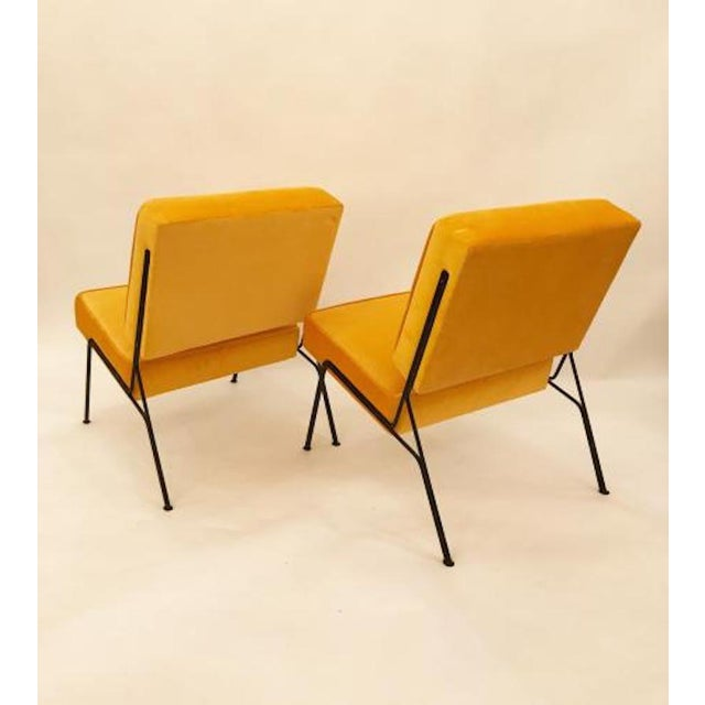 Pierre Guariche Pierre Guariche Pair of Mid Century Slipper Chairs in Canary Yellow Velvet For Sale - Image 4 of 4