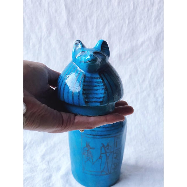 Metropolitan Museum of Art Canopic Jar Anubis Blue Jackal Head of Duamutef For Sale - Image 4 of 7