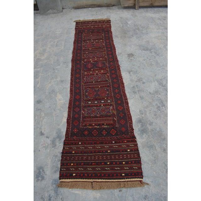 "Afghan Soumak Tribal Kilim Runner-2'3'x9'11"" For Sale - Image 11 of 11"