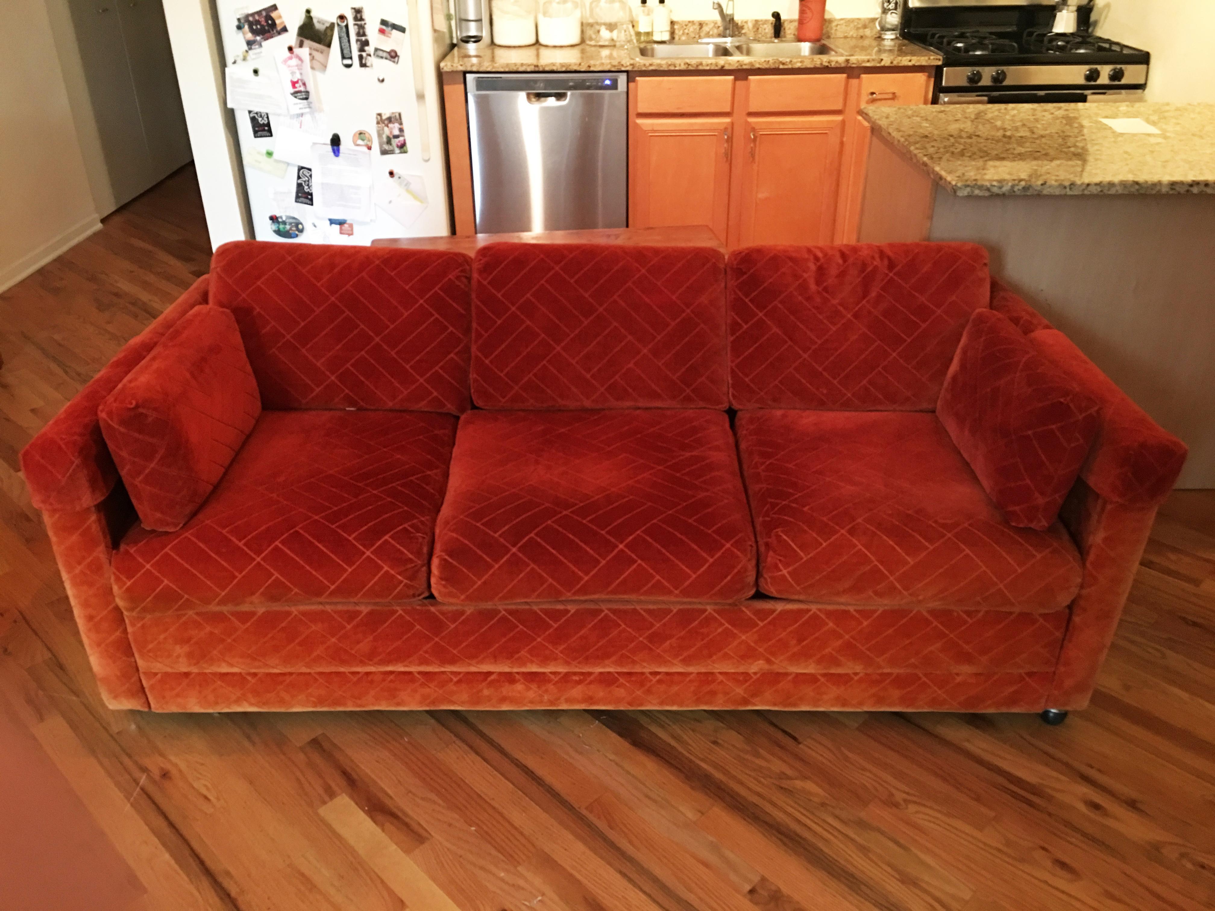 Amazing Mid Century Modern Vintage Retro Orange Pull Out Sleeper Sofa For Sale    Image 3