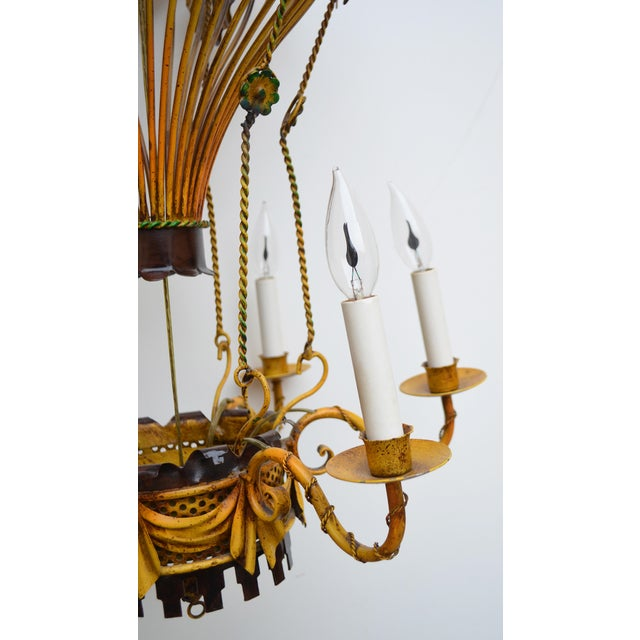 Vintage Italian Tole Hot Air Balloon Chandelier For Sale - Image 4 of 6