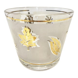 Vintage Gold Fall Leaves Libbey Ice Bucket