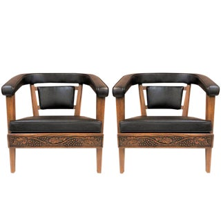 Pair of Romweber Carved Oak Lounge Chairs For Sale