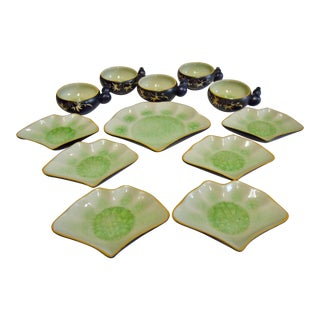 Sushi Fan Plates and Sauce Bowls With Knob Handles - 12 Pc.