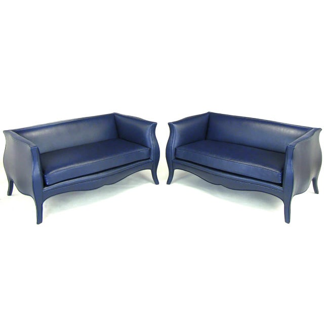 Mid-Century Modern Pair of Richard Himmel Lutece Settees in Blue Edelman Reptile Patterned Calfskin For Sale - Image 3 of 10