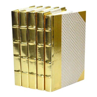 Metallic Collection Brass Books - Set of 5 For Sale