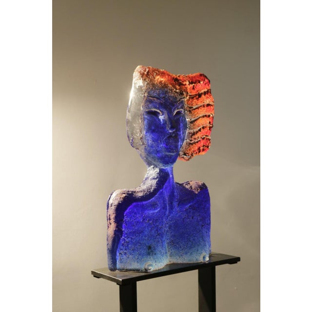 Glass Sculpture of a Woman Bust on a Metal Pedestal For Sale In Los Angeles - Image 6 of 7