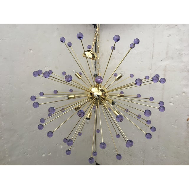 Murano Glass Sputnik Metal Frame Gold Chandelier For Sale - Image 10 of 10