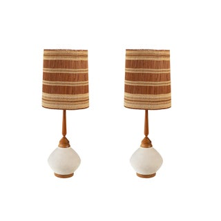 Walnut and Ceramic Table Lamps With Maria Kipp Shades - a Pair For Sale