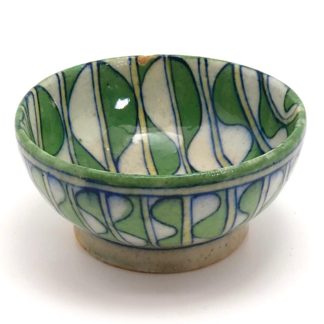 Early 20th Century Green and White Patterned Tin Glazed Small Ceramic Bowl For Sale - Image 4 of 13