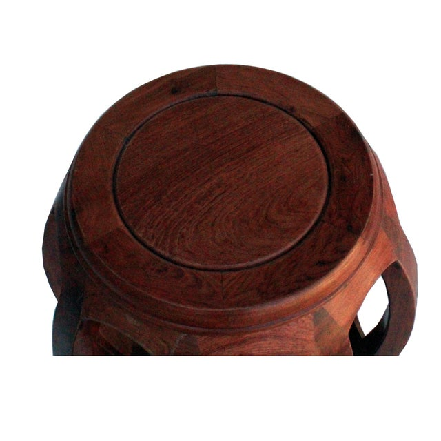 Wood Chinese Oriental Brown Stain Wood Curved Barrel Shape Stool For Sale - Image 7 of 8