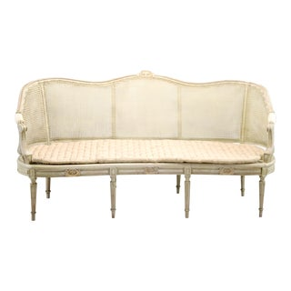 Painted Louis XVI Style Large Caned Settee With Original Cushion