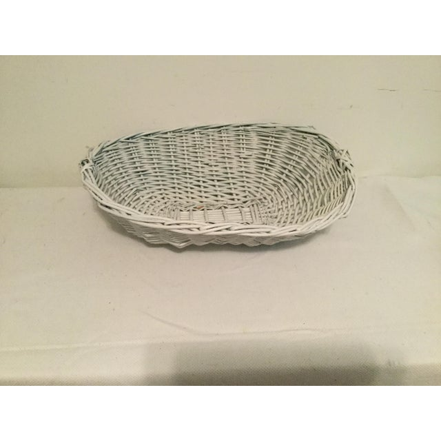 White White Wicker Basket For Sale - Image 8 of 8